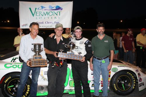 """Cody Blake (3rd from left) celebrates in victory lane with Governor Pete Shumlin, father Greg """"Burger"""" Blake and VT Lottery's Greg Smith. (Credit Alan Ward)"""