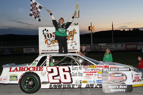 Stephen Donahue, 16, celebrates his second-straight Renegade victory at Devil's Bowl Speedway. (photo: MemorEvents)