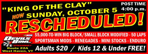 """King of the Clay"" Event Postponed to Sunday at Devil's Bowl Speedway Waterbury Vermont"
