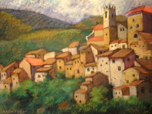 Church of San Giovanni, Castelvecchio Subequo, is one of the pastels in Jeneane Lunn's exhibit Faces & Places/Vermont & Italy in the Central Vermont Medical Center lobby gallery.