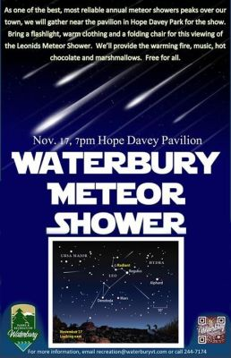 Meteor Shower Viewing Party Waterbury Center Vermont