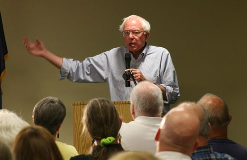 Sanders Town Meeting on the Economy Morrisville Vermont